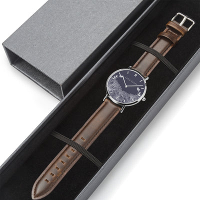 Minimalist Floral Chrysanthemum pattern Watch designed for women, it comes with silver case and brown genuine leather strap and luxury gift box