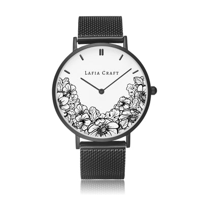 Minimalist monochrome Floral garden pattern Watch designed for women, it comes with black case and black stainless steel mesh strap.