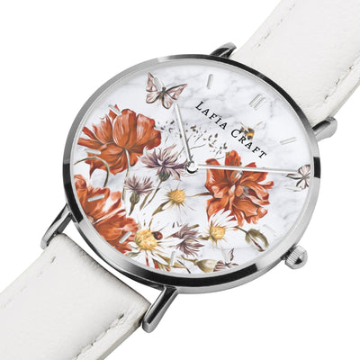 Vintage Floral garden pattern Watch designed for women, it comes with silver case and white genuine leather strap.