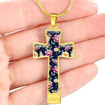 Navy Daisy Garden Cross Necklace Pendant