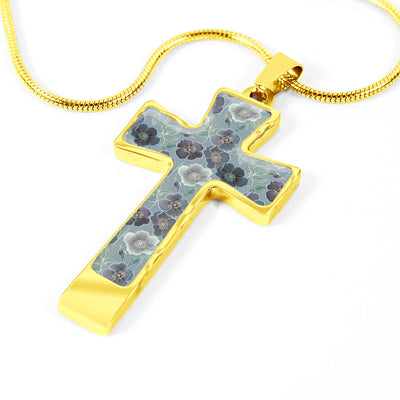 Spring Flourish Garden Cross Necklace Pendant