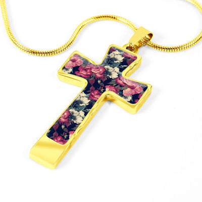 Dark Rose Garden Cross Necklace Pendant