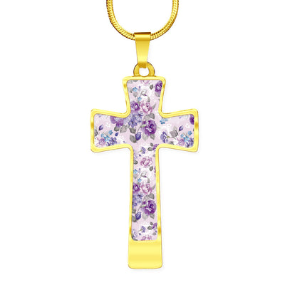 Purple Rose Garden Cross Necklace Pendant