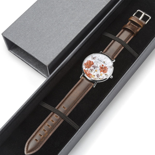 Vintage Floral garden pattern Watch designed for women, it comes with silver case and brown genuine leather strap and luxury gift box