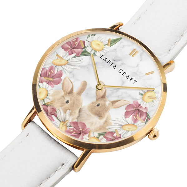 vintage rabbit and floral garden pattern Watch designed for women, it comes with rose gold case and rose white genuine strap.