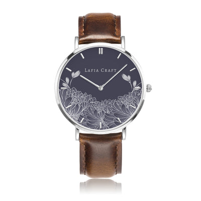 Minimalist Floral Chrysanthemum pattern Watch designed for women, it comes with silver case and brown genuine leather strap.