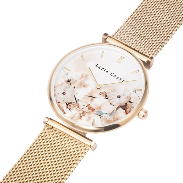 Sakura and Butterfly Rose Gold Mesh