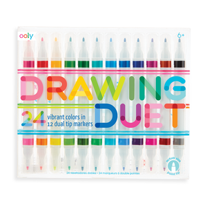 DRAWING DUET DOUBLE-ENDED MARKERS - SET OF 12