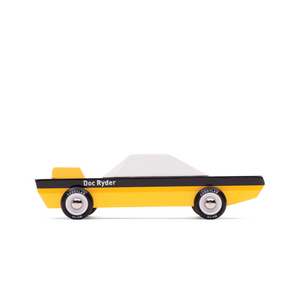 Yellow and black wooden muscle car side view
