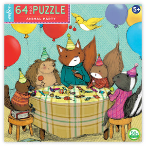 Box for animal party puzzle featuring five animals with birthday hats eating candy surrounded by colorful balloons