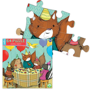 Box for animal party puzzle, featuring a detail of assembled pieces depicting a fox wearing a birthday hat