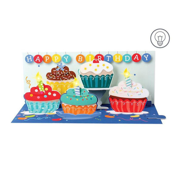Cupcakes and Candles Panoramic Pop-up Card with light