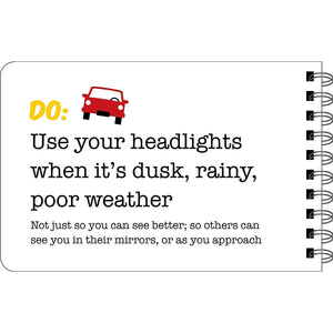 Driving Dos and Don'ts sample page - Use your headlights when it's dusk, rainy or poor weather.