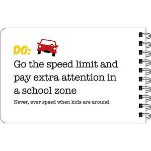 Driving Dos and Don'ts sample page - pay extra attention in a school zone