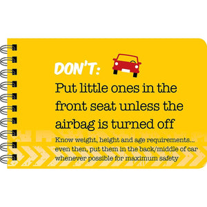 Driving Dos and Don'ts sample page - Don't put little ones in the front seat unless the airbag is turned off