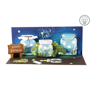 Fireflies Panoramic Pop-up Card with Light
