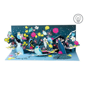 Midnight Birds Panoramic Pop-up Card with Light