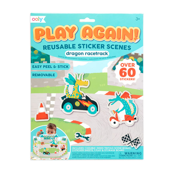 Play Again! Reusable Sticker Scenes: Dragon Racetrack