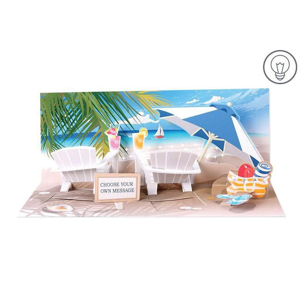 Sparkling Beach Panoramic Pop-up Card with light