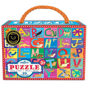 Puzzle box with a carrying handle, showing bright alphabet letters with animals that illustrate each letter