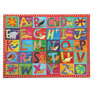 Assembled puzzle of a bright alphabet letters with animals that illustrate each letter