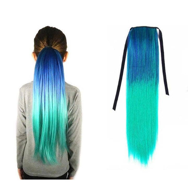 Neptune Teal Blue and Aqua Straight Ponytail Hair Extension