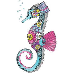 Coloring Crush sample image, seahorse colored in.