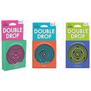 three versions of the double drop puzzle.