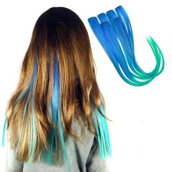 Neptune Teal Blue and Aqua Ombre - Clip-in Hair Extension