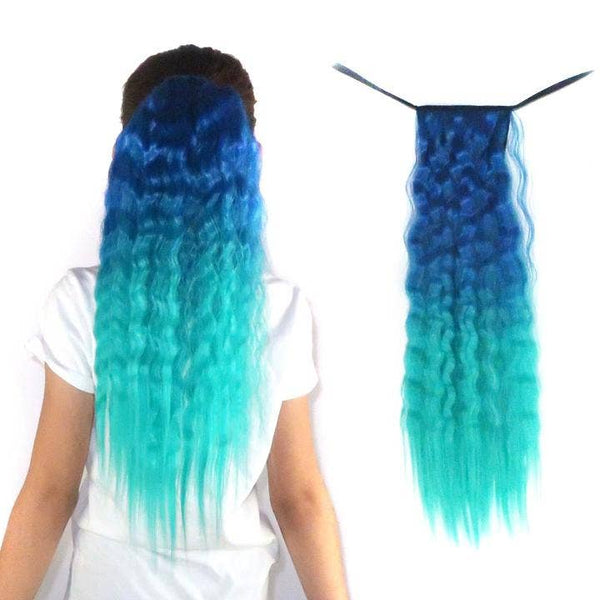 Neptune Teal Blue and Aqua - Wavy Ponytail Hair Extension