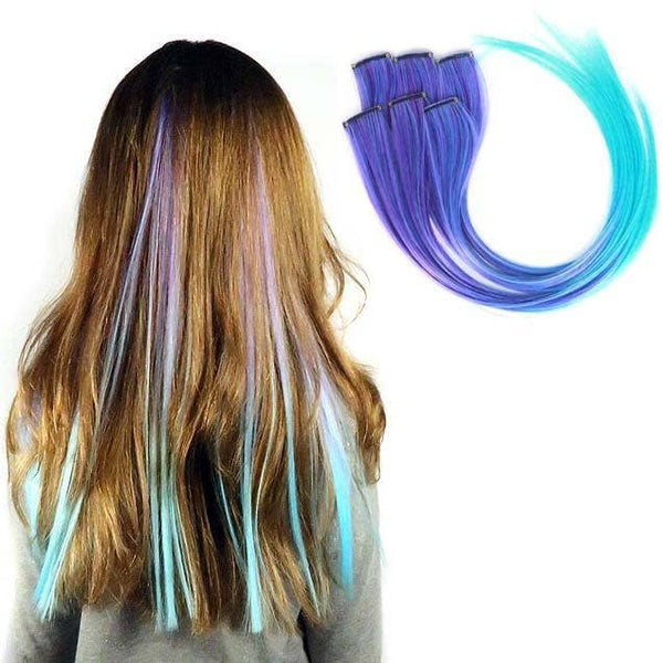 Jellybean Purple and Aqua Ombre Clip-in Hair Extension