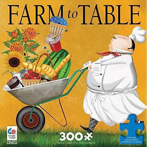 Puzzle box featuring image of a chef, dressed in white, pushing a wheelbarrow of fresh ingredients on a golden background with oversized pieces