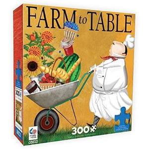 Puzzle box featuring image of a chef, dressed in white, pushing a wheelbarrow of fresh ingredients on a golden background