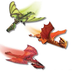 Three assembled dragons, green in the upper left, orange in the center right, and red in the lower left.