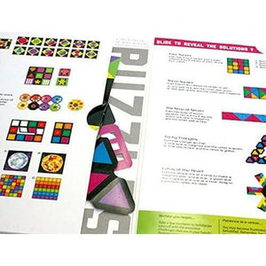 The opened Fold booklet with diagrams and paper pieces.
