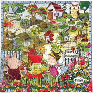 Assembled puzzle depicting a pig and a little girl tending a bright garden with markers identifying the plants