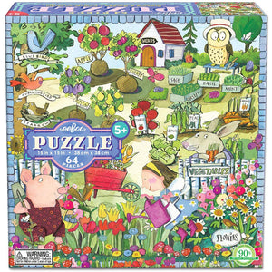 Box for Growing a Garden puzzle with a bright garden being tended by a little girl and her animal friends