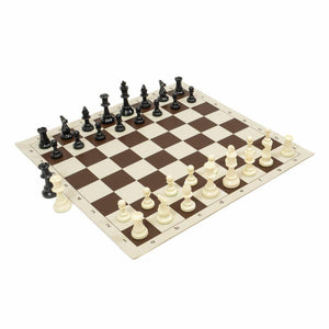 Chess Set Combo: Brown Board, Black Bag