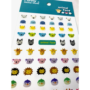 Funny Animal Faces - Mini Gel Stickers