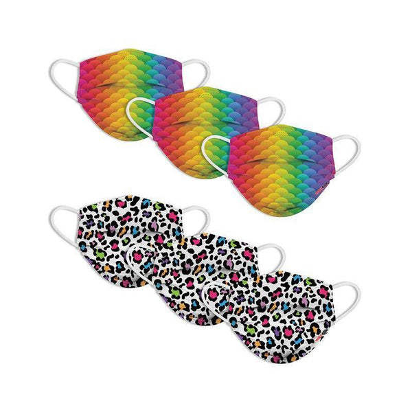 KIDS FUN MASKS - Leopard Camo and Rainbow Skin -  (6-PACK)