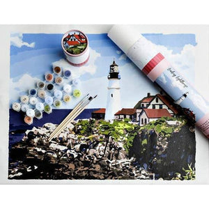 Paint-by-number: Leading Lighthouse  Printed Canvas