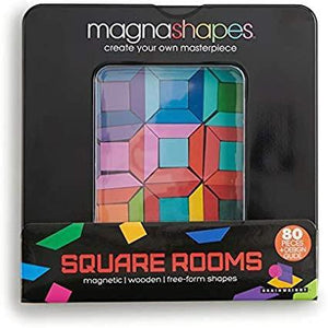 8-inch square black tin with colorful geometric wooden puzzle shapes