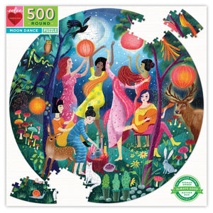 Moon Dance puzzle in box, colorful puzzle featuring multi-ethnic women  dancing in a night garden with animals