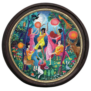 Beautiful colorful puzzle featuring multi-ethnic women  dancing in a night garden with animals