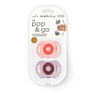 Pop and Go package with blush and lilac pacifiers.