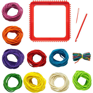 Kit contents: Loom, needle, crochet hook, and 10 bundles of different colored loops.