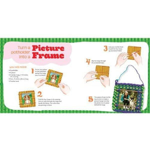 Sample page explaining how to turn a potholder into a picture frame.