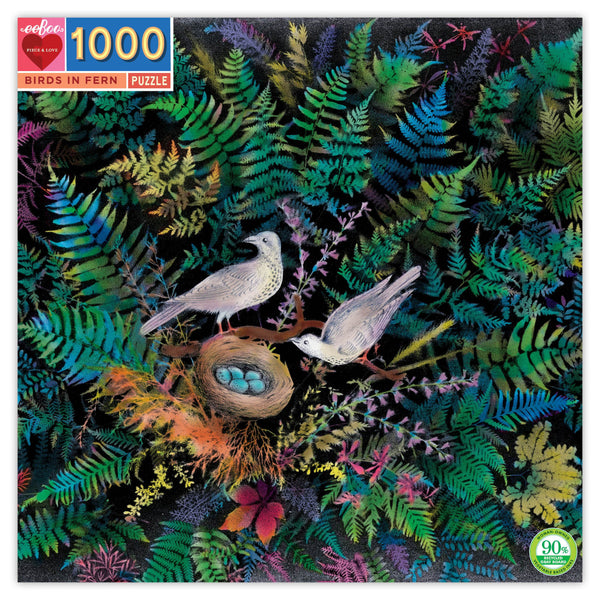 Box for birds in fern puzzle featuring an image of two birds sitting on a branch above their nest. The nest has five blue eggs and the rest of the puzzle features colorful fern fronds radiating out