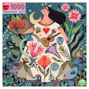 Puzzle Box featuring an image of a woman surrounded by bright folk-art of animals, plants, and fruit, with a crescent moon in the background