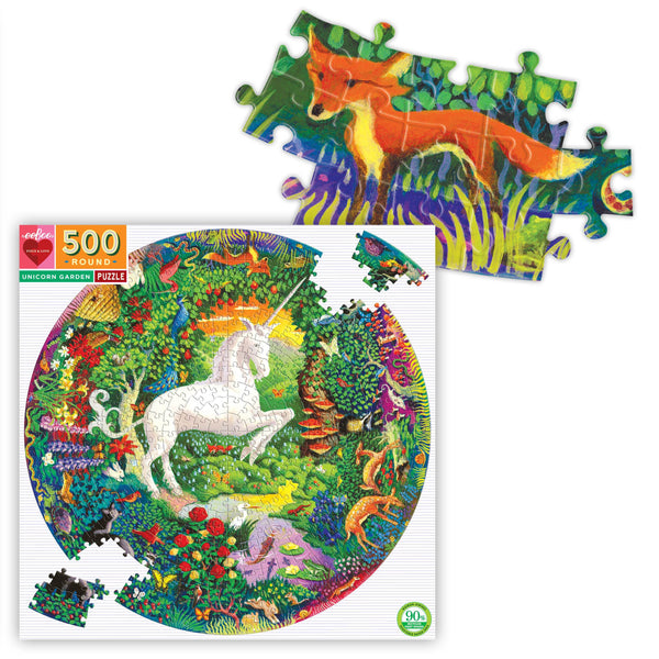 Box featuring image of a white unicorn rearing up in the center of a colorful garden with animals, with a detail of pieces assembled with a red fox on them.